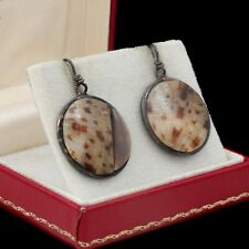 Vintage Sterling Silver Native Zuni Mother of Pearl Shell Inlay Earrings 8.2g