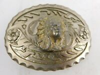 VINTAGE INDIAN CHIEF SILVERTONE BELT BUCKLE