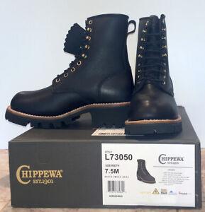 "Chippewa Women's 8"" Black Steel Toe Logger 7.5M - L73050 - Vibram Sole"