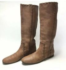 GUCCI Rare Womens Brown Pebbled Leather Large Stitch Flat Soles Boots Size 39.5