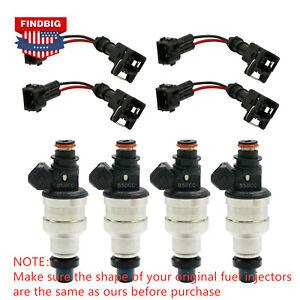4x 80LB 850CC Fuel Injectors For Honda B16 B18 B20 D15 D16 D18 F22 H22 w/clips