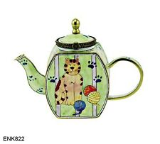 KELVIN CHEN Enamel Mini Copper hand paint Teapot- Cat & Yarn Ball Kitty