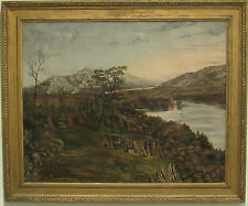 ANTIQUE FINE 19 CENTURY HUDSON RIVER SCHOOL LANDSCAPE OIL ON CANVAS, LARGE