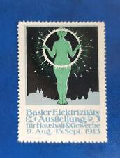 BASLER ELEKTRIZITÄTS AUSSTELLUNG HAUSHALT & GEWERBE 1913 Reklamemarke (13994)