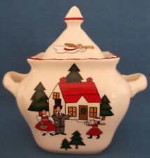 MASONS CHRISTMAS VILLAGE LIDDED POT ENGLISH IRONSTONE UNUSED MADE IN ENGLAND