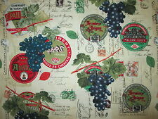 FRENCH WINE LABELS GRAPES WRITING POST MARKS CREAM COTTON FABRIC FQ