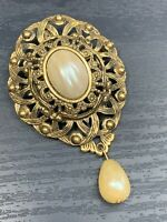 Women's Vintage Pearl Dangle Necklace  Enhancer Pin Brooch Pendant Muti Use