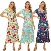 UK Womens Holiday Bardot Button Pocket Ladies Summer Beach Midi Swing Sun Dress