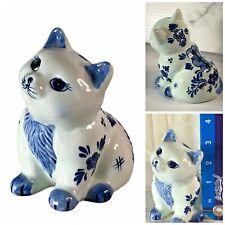 Delfts Blauw Hand Painted Porcelain Kitty Cat Piggy Bank #207 w/ rubber stopper
