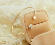 Women Fashion Style Gold Rhinestone Love Heart Bangle Cuff Bracelet Jewelry NEW