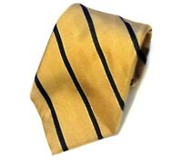 Robert Talbott Mens Silk Tie Gold Dark Blue Hand Sewn