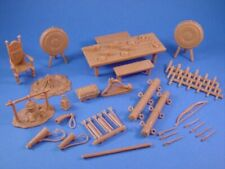 MARX Toy Soldier Knights Castle Furniture Rams Ladders Fire Pit 35 PCS FREE SHIP