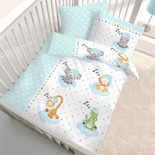 Tiere Zoo Sterne - Fein Biber Baby / Kinder Bettwäsche in mint 40x60 + 100x135