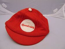 """Vintage Armstrong Beanie Cap red felt color with white Button on top 8 1/2"""" x 7"""""""