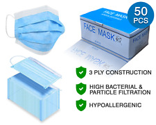 3-Ply Face Mask - 50 Pcs - Disposable, Breathable, Hypoallergenic - Ce Certified