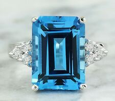 8.26 Carat Natural Topaz 14K White Gold Diamond Ring