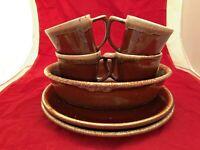 Vintage McCoy USA Brown Drip Glaze Coffee Mugs x4 , plates x2 ,baking dish lot