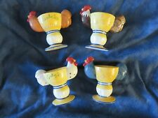 New listing Rooster Ceramic Egg Cup / Egg Holders Unique Vintage Collectible Set of 4