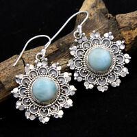 925 Sterling Silver DOMINICAN REPUBLIC LARIMAR Round Gemstone Dangle Earrings