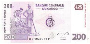 Congo Democratic Republic two hundred francs 2007