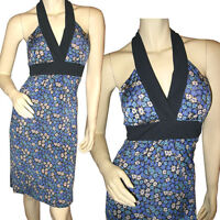 NEW Womens Sleeveless V-Neck Halter Sheath Dress Navy Blue Purple Floral Print