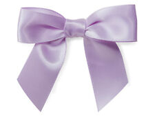 "12 Lavender Pre tied Satin Ribbon 3"" Bows Twist Ties Pastel Purple Crafts Gifts"