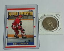 ERIC LINDROS LIMITED EDITION HOCKEY GREATS COIN + SCORE ROOKIE CARD LOT