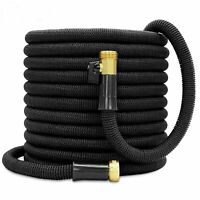 Double Latex Expandable Flexible Garden Hose with 3/4 Brass Connector 50FT Black