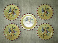 NEW!! LENOX set of 5 salad plates in Winter Greetings Everyday—Nuthatch.