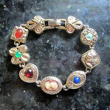 Vintage Bracelet - Goldette - Link Panel Charms - Gold Plated - RETRO
