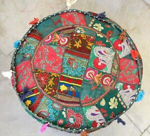 Pretty Indien Green Pouf Cover Stool Vintage Patchwork Living Room Ottoman Cover