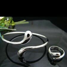 Fashion 925 Silver Pretty Drop Bangle Ring Set Jewelry Women Lady