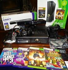 Microsoft Xbox 360 S with Kinect 250GB Glossy Black Console (NTSC) & 3 Games too