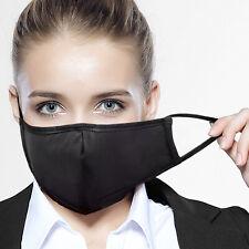 Face Mask 100% Cotton w/ Filter Pocket Cloth Unisex Reusable Washable Black 10PC