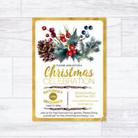 CHRISTMAS INVITATIONS PERSONALISED VINTAGE GOLD PARTY INVITES CELEBRATION XMAS