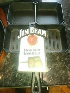 "Jim Beam Whiskey 3 Compartment Square Skillet 9"" x 9""  23cm x 23cm round availab"