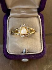 14k Victorian Milk Tooth and Rose Cut Diamond Conversion Ring