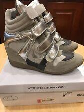 Steve Madden Wedge Sneaker Hilight Silver Sz 9
