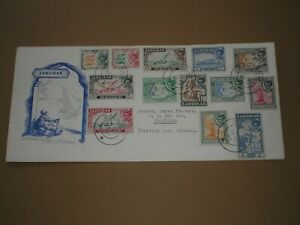 1957 ZANZIBAR Stamps SULTAN DEFINITIVE ISSUE SET TO 5 Sh FIRST DAY COVER FDC