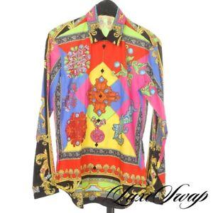 NWT Versace Made in Italy Neon Tribute Byzantine Jewel Cross Print Shirt 40 NR