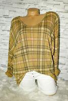 Italy Pullover Vintage Gr. 36 38 40 42 Shirt Karo Puder Gelb blogger Glencheck