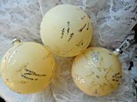 Vintage Ornament Lot - 3 IVORY BALLS w/GOLD & SILVER GLITTER STARS