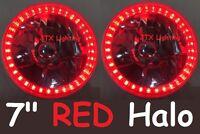 "JTX RED 7"" Round Ring LED Semi Sealed Headlights Pontiac Formula 455 Oldsmobile"