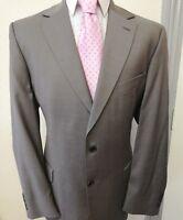 Men's M&S Wool Beige Grey Suit Size 44 Reg W40 L31