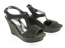 Rampage Womens Metallic Wedge Heels Open Toe Sandal