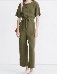 Madewell Short Sleeve Button Front Belted Crop Jumpsuit Army Green Women's Med