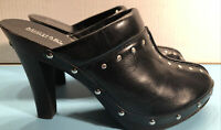 Women's Micheal by  Micheal Kors Black Studded Leather wooden Heeled Clogs 9.5