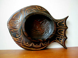 Native Art Hand Carved Wood Fish Bowl Signed GG 2017 Canada