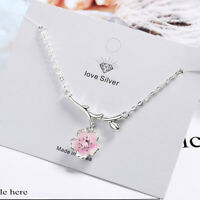 925 Sterling Silver Pink Cherry Blossoms Pendant Necklace Women Simple Jewellery