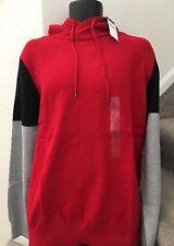 Sean Johns Mens Colorblocked Hoodie Sweater Sweatshirt Tango Red Size XL NWT